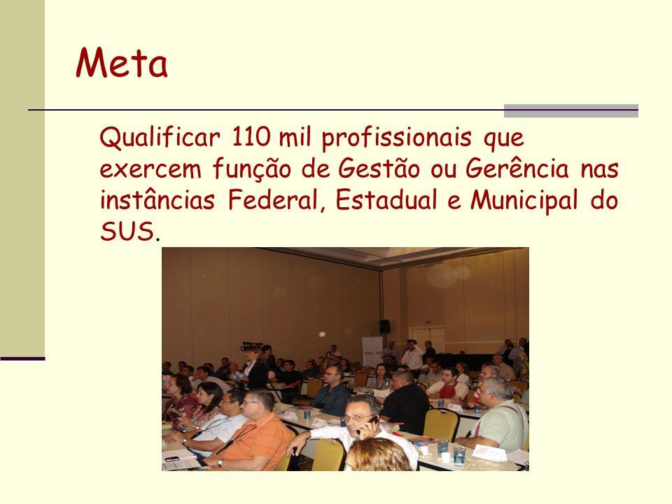 MetaQualificar 110 mil profissionais que exercem função de Gestão ou Gerência nas instâncias Federal, Estadual e Municipal do SUS.