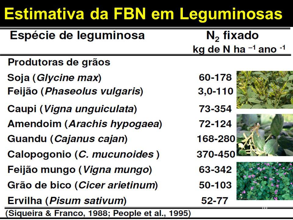Estimativa da FBN em Leguminosas