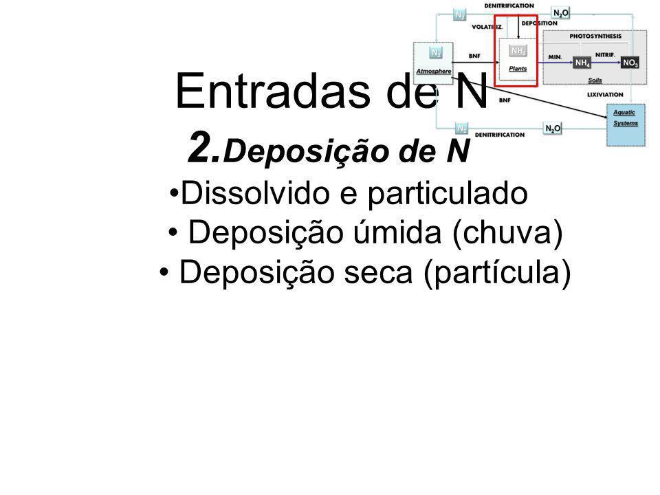 Entradas de N 2.Deposição de N Dissolvido e particulado