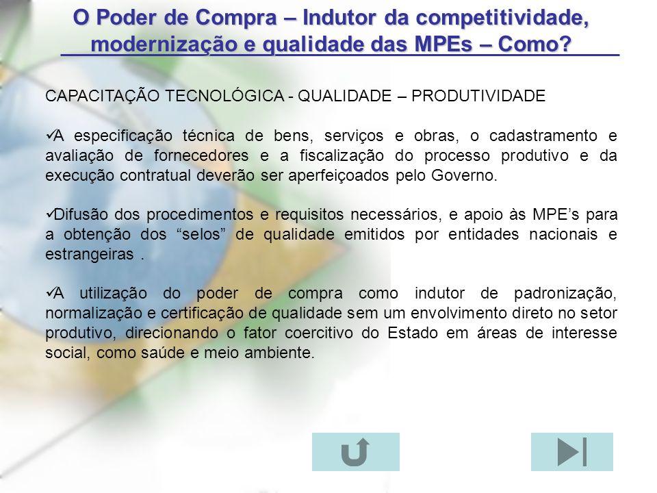 O Poder de Compra – Indutor da competitividade, modernização e qualidade das MPEs – Como
