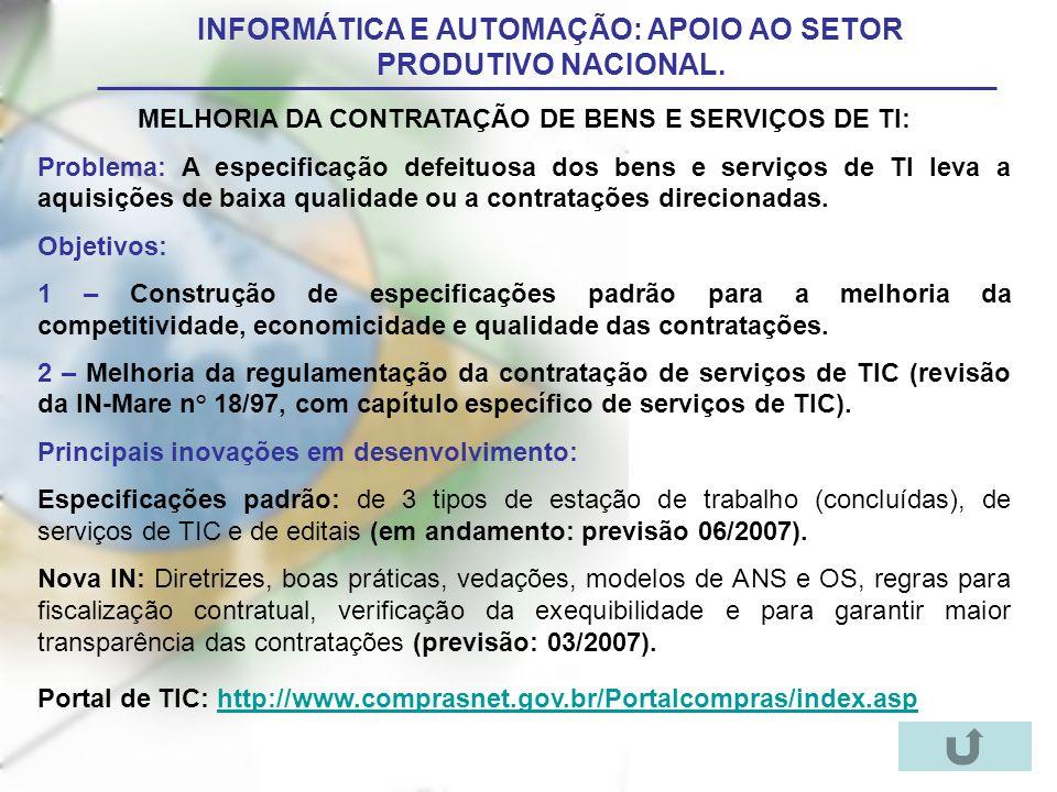 INFORMÁTICA E AUTOMAÇÃO: APOIO AO SETOR PRODUTIVO NACIONAL.