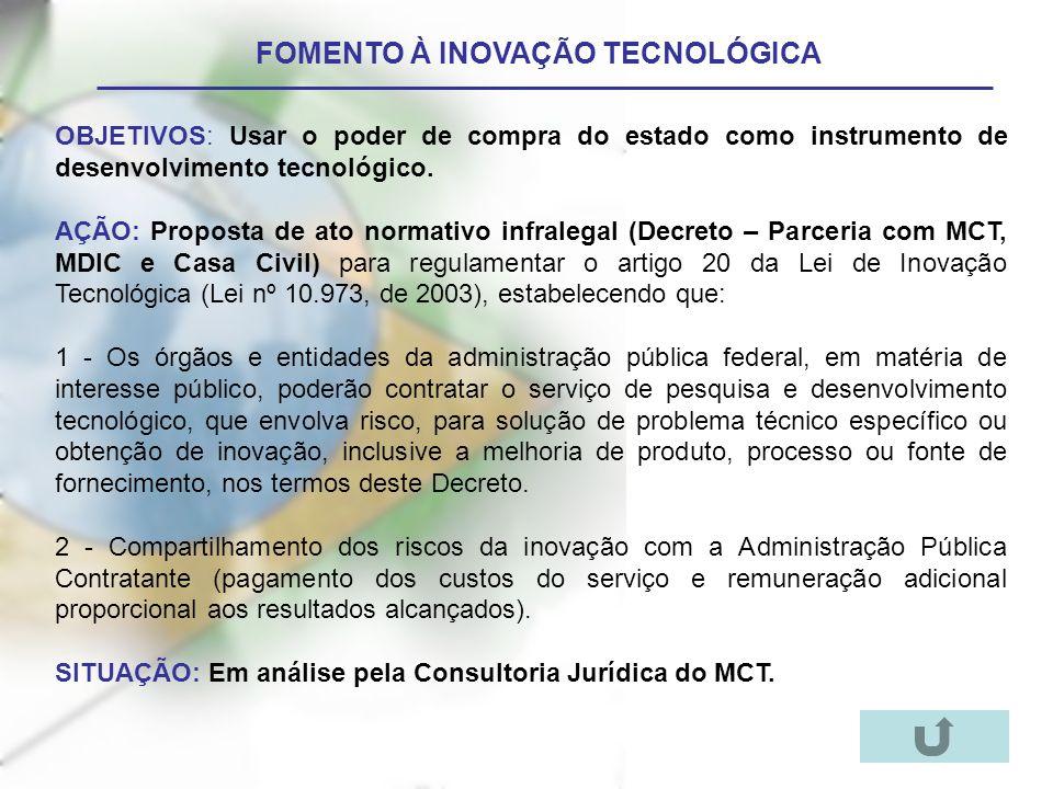 FOMENTO À INOVAÇÃO TECNOLÓGICA