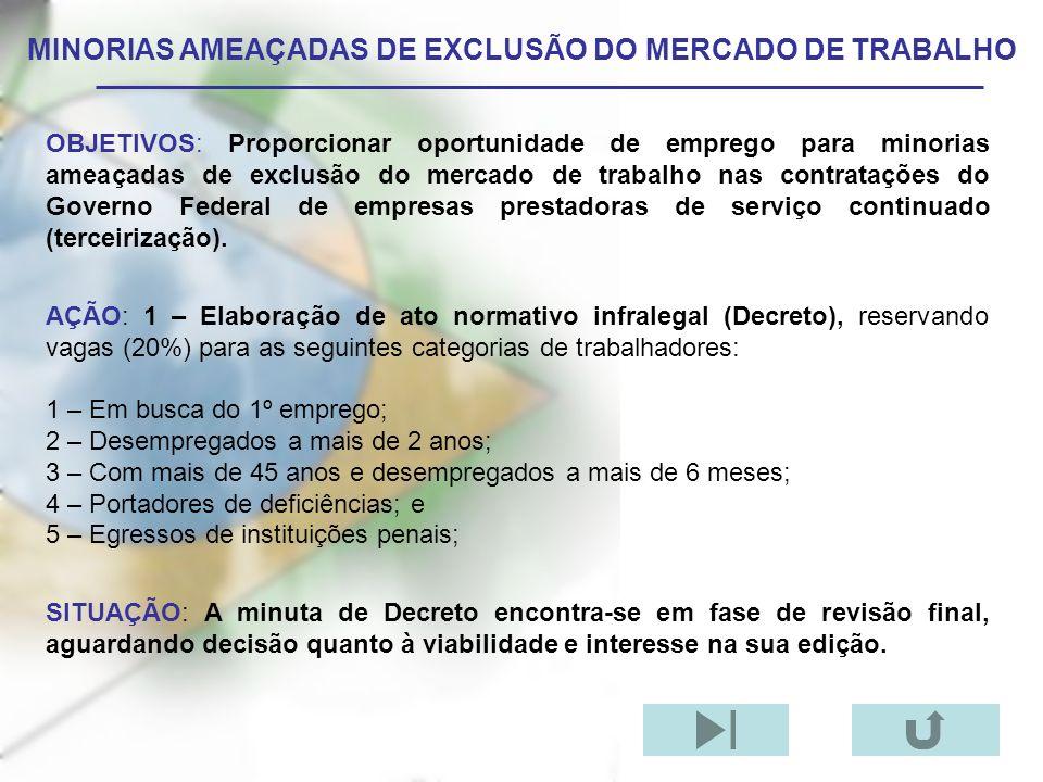 MINORIAS AMEAÇADAS DE EXCLUSÃO DO MERCADO DE TRABALHO