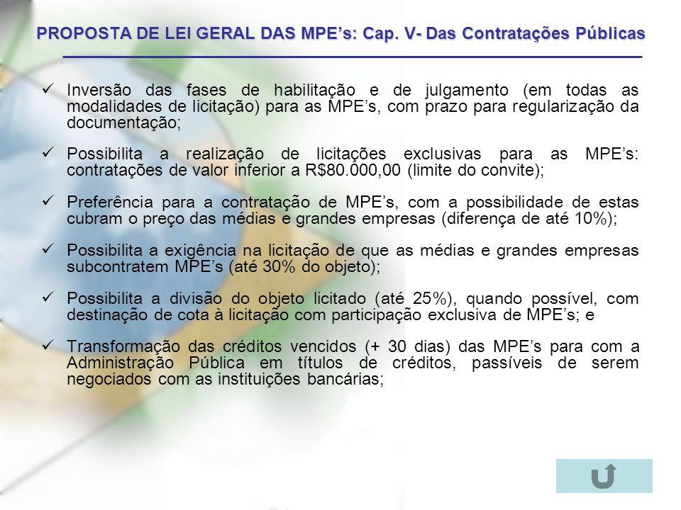 PROPOSTA DE LEI GERAL DAS MPE's: Cap. V- Das Contratações Públicas