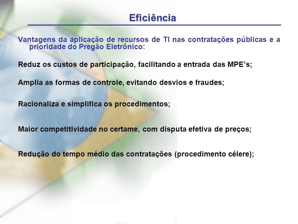 Eficiência Vantagens da aplicação de recursos de TI nas contratações públicas e a prioridade do Pregão Eletrônico: