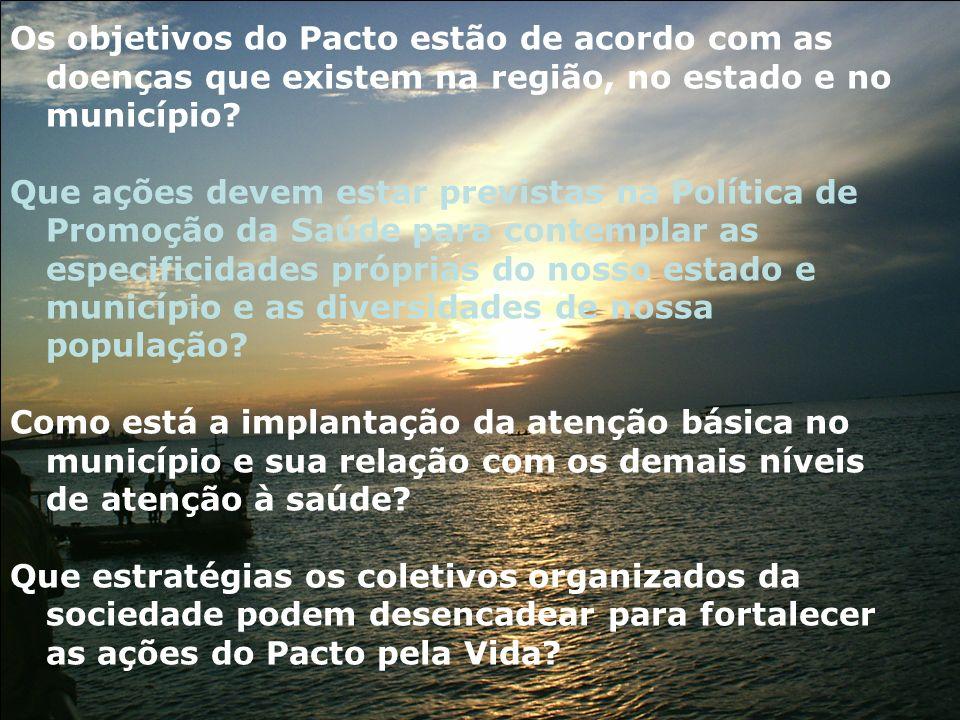 Os objetivos do Pacto estão de acordo com as doenças que existem na região, no estado e no município