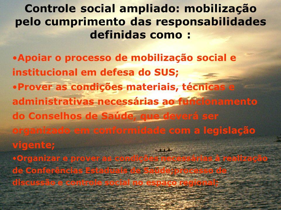 Controle social ampliado: mobilização pelo cumprimento das responsabilidades definidas como :