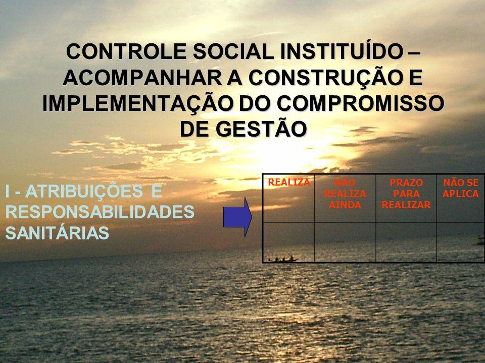 CONTROLE SOCIAL INSTITUÍDO – ACOMPANHAR A CONSTRUÇÃO E IMPLEMENTAÇÃO DO COMPROMISSO DE GESTÃO