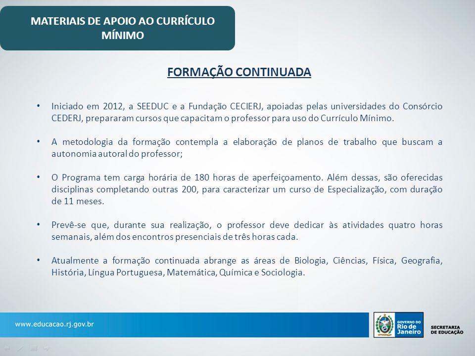 MATERIAIS DE APOIO AO CURRÍCULO MÍNIMO