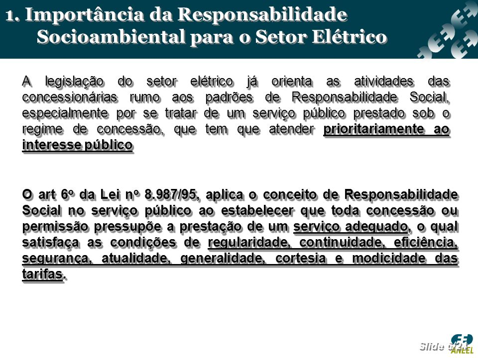 1. Importância da Responsabilidade Socioambiental para o Setor Elétrico
