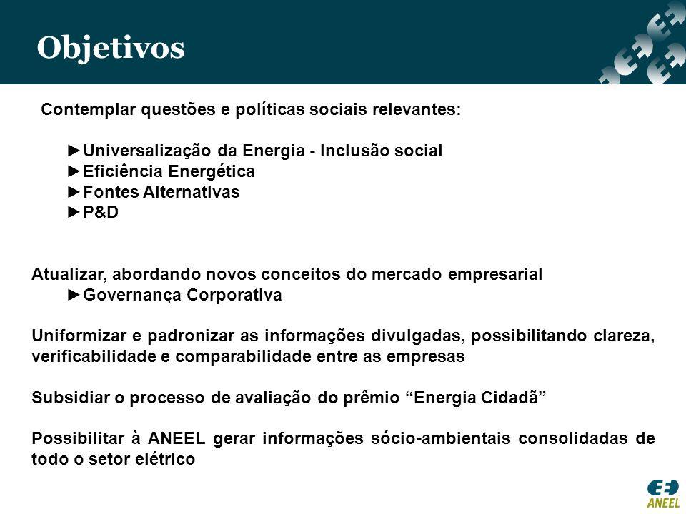 Objetivos Contemplar questões e políticas sociais relevantes: