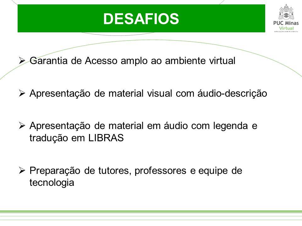 DESAFIOS Garantia de Acesso amplo ao ambiente virtual