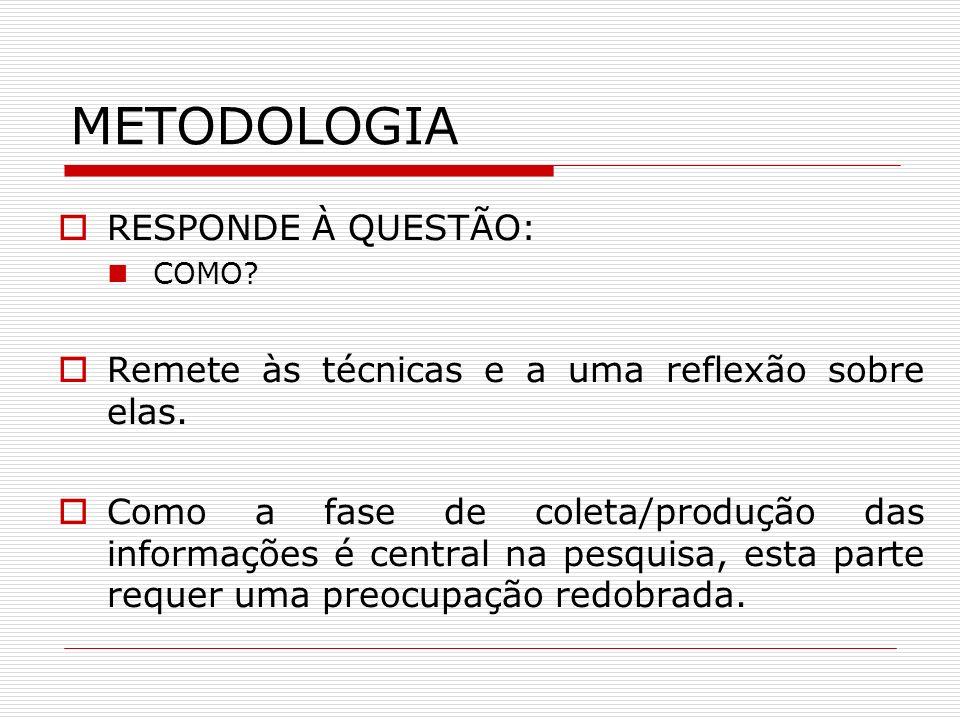 METODOLOGIA RESPONDE À QUESTÃO: