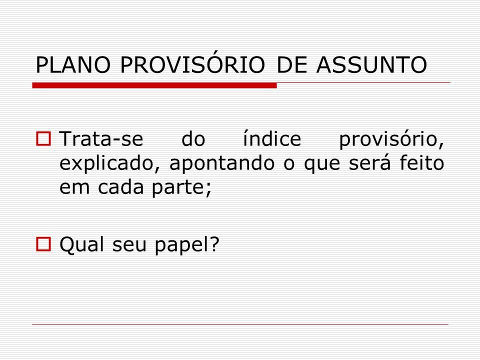 PLANO PROVISÓRIO DE ASSUNTO