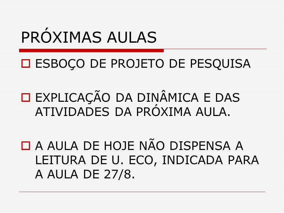 PRÓXIMAS AULAS ESBOÇO DE PROJETO DE PESQUISA