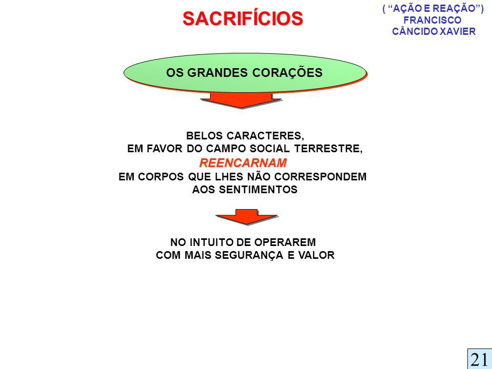 SACRIFÍCIOS 21 OS GRANDES CORAÇÕES REENCARNAM BELOS CARACTERES,