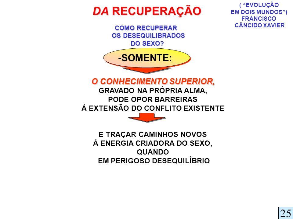 DA RECUPERAÇÃO 25 -SOMENTE: O CONHECIMENTO SUPERIOR,