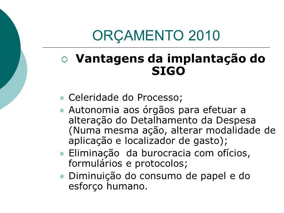 Vantagens da implantação do SIGO