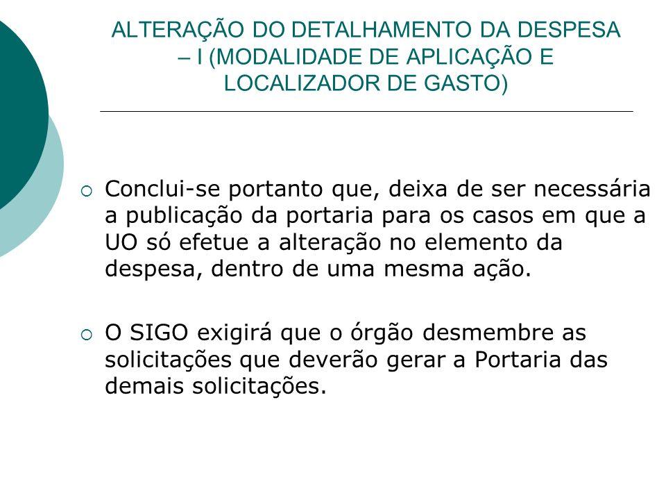 ALTERAÇÃO DO DETALHAMENTO DA DESPESA – I (MODALIDADE DE APLICAÇÃO E LOCALIZADOR DE GASTO)