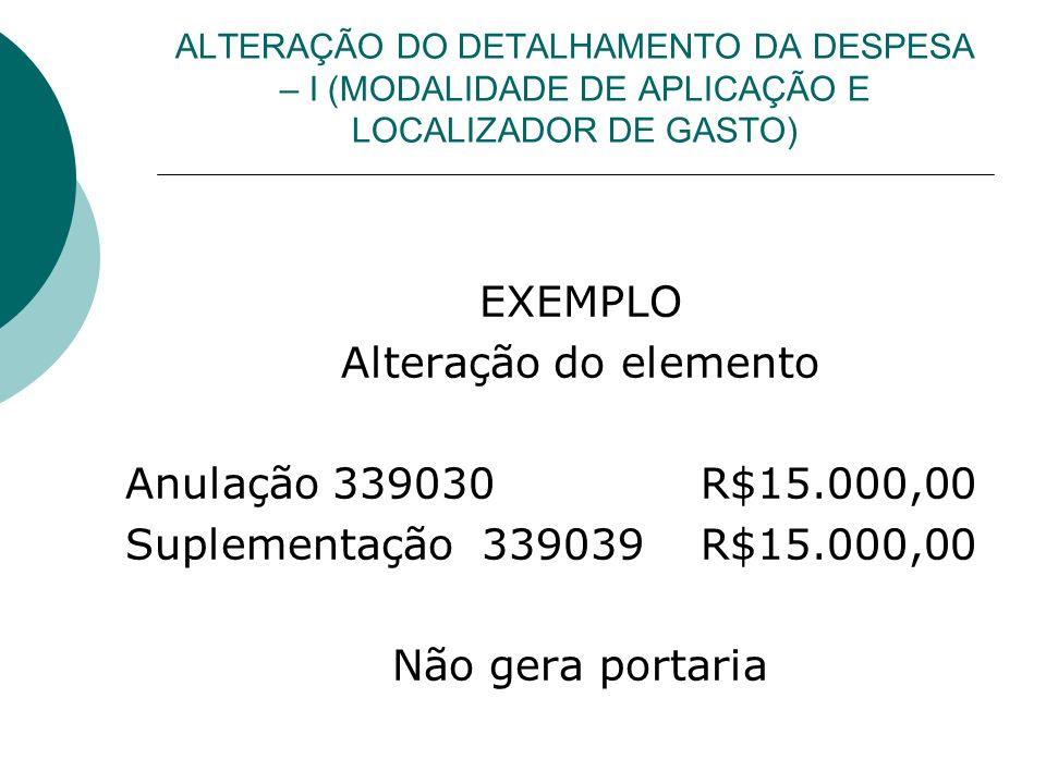 EXEMPLO Alteração do elemento Anulação 339030 R$15.000,00