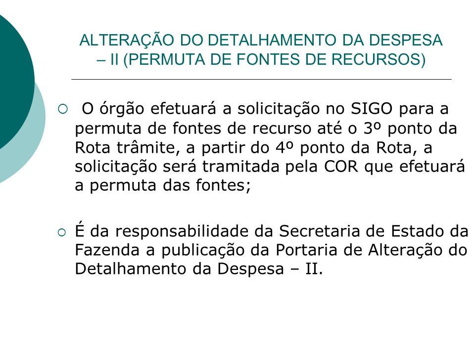 ALTERAÇÃO DO DETALHAMENTO DA DESPESA – II (PERMUTA DE FONTES DE RECURSOS)