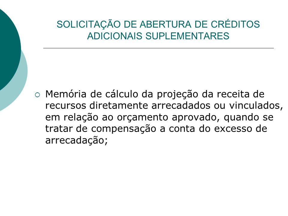 SOLICITAÇÃO DE ABERTURA DE CRÉDITOS ADICIONAIS SUPLEMENTARES