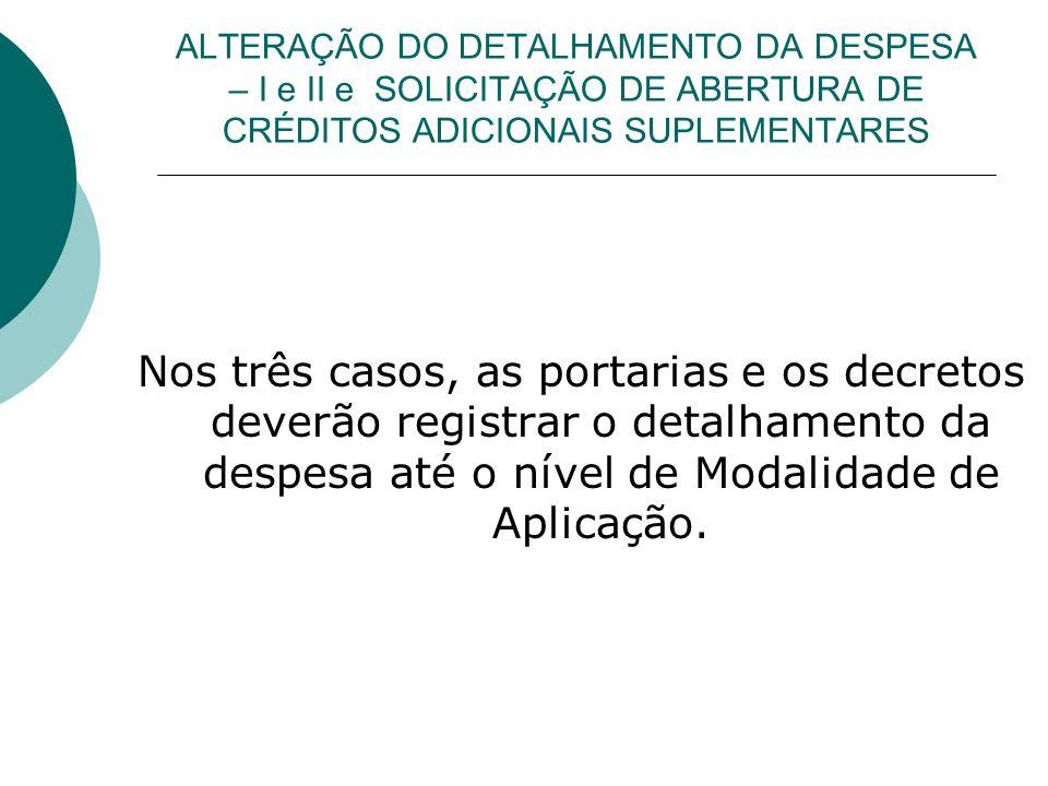 ALTERAÇÃO DO DETALHAMENTO DA DESPESA – I e II e SOLICITAÇÃO DE ABERTURA DE CRÉDITOS ADICIONAIS SUPLEMENTARES