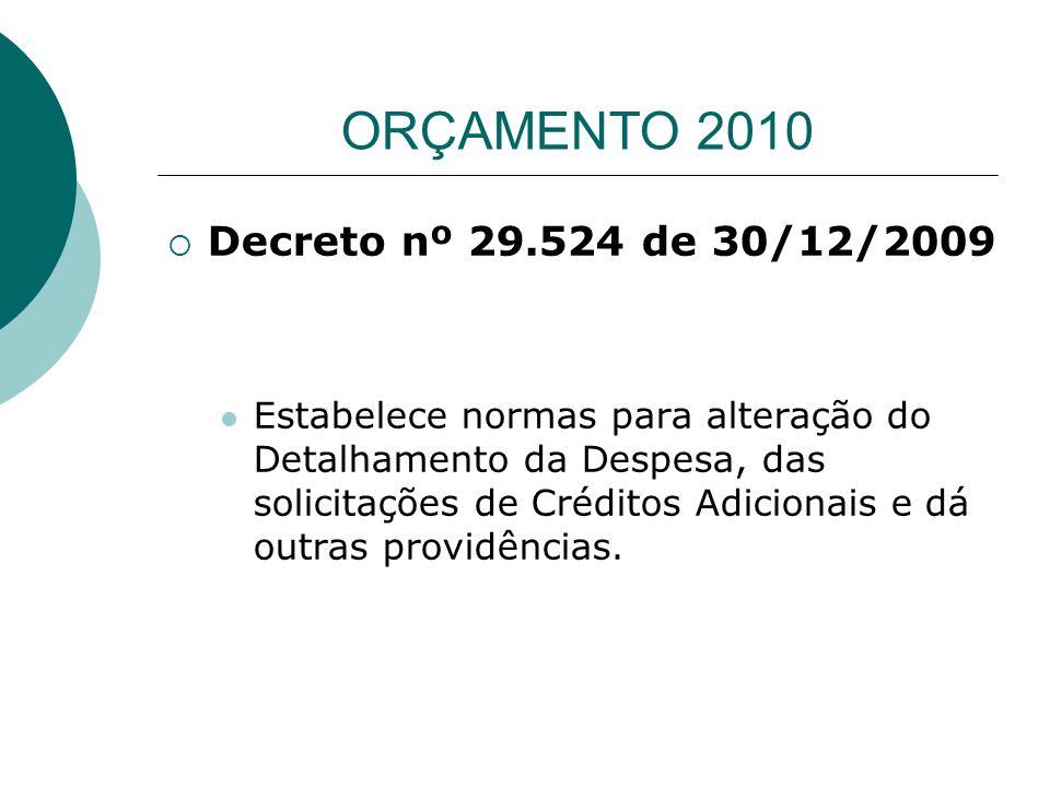 ORÇAMENTO 2010 Decreto nº 29.524 de 30/12/2009