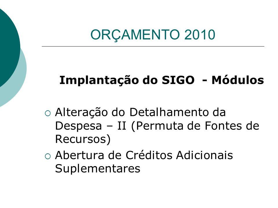Implantação do SIGO - Módulos