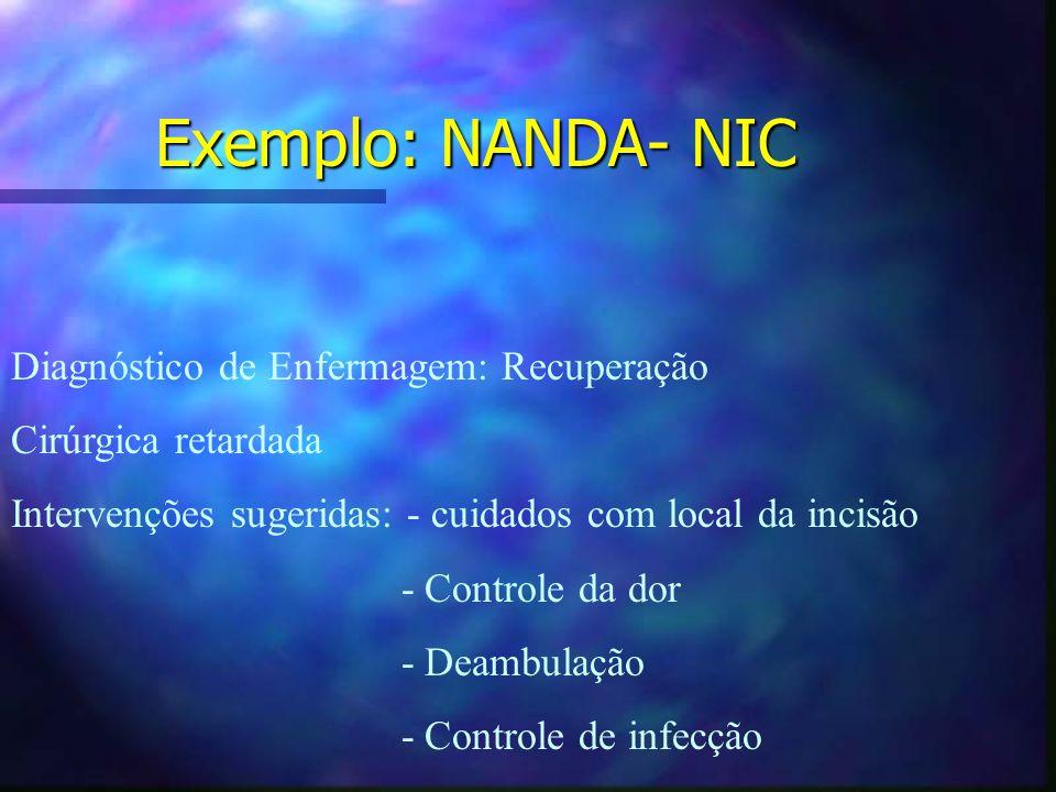 Exemplo: NANDA- NIC Diagnóstico de Enfermagem: Recuperação