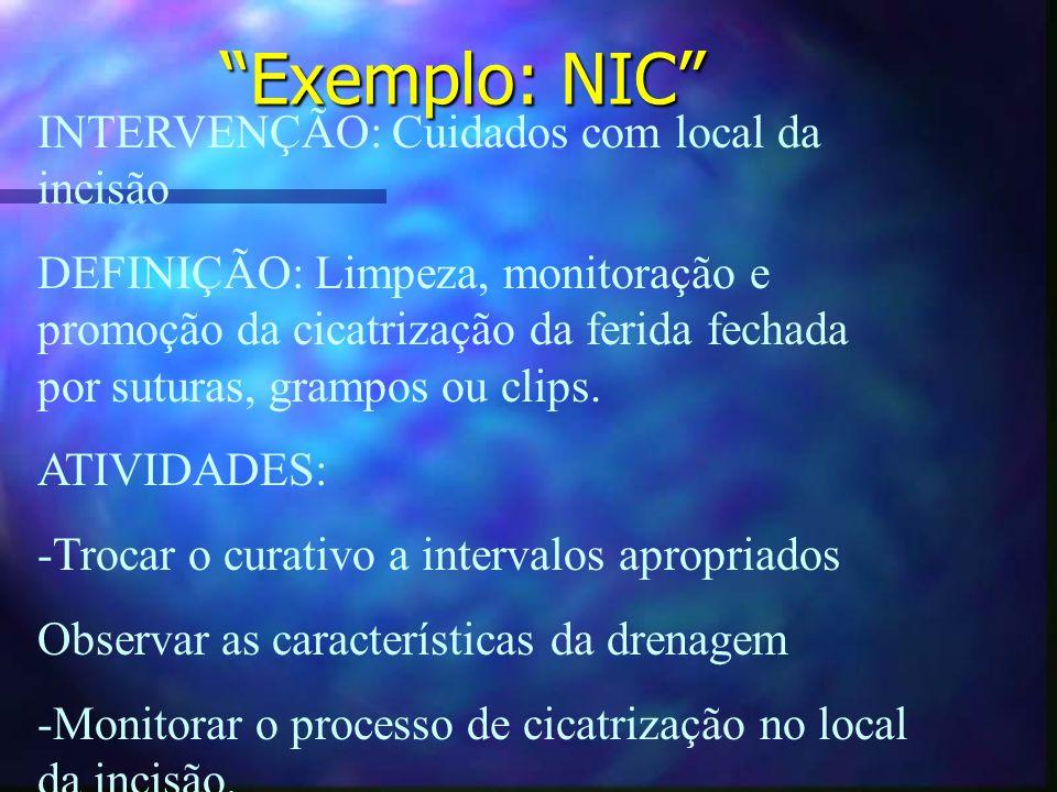Exemplo: NIC INTERVENÇÃO: Cuidados com local da incisão