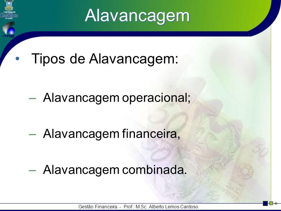 Gestão Financeira - Prof.: M.Sc. Alberto Lemos Cardoso