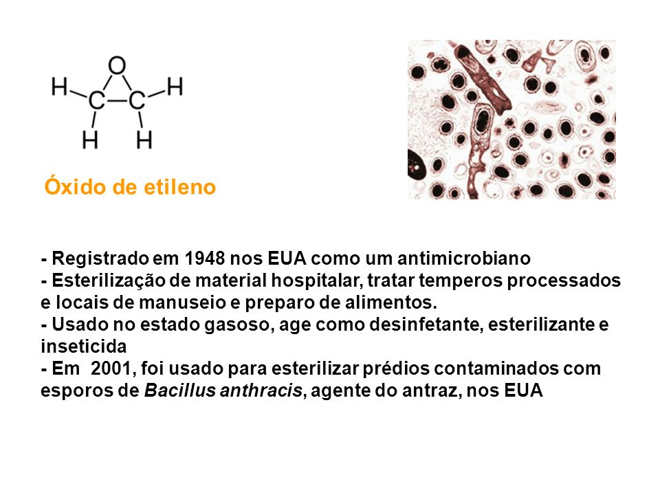 Óxido de etileno - Registrado em 1948 nos EUA como um antimicrobiano