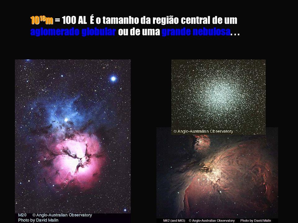 1018m = 100 AL É o tamanho da região central de um aglomerado globular ou de uma grande nebulosa.