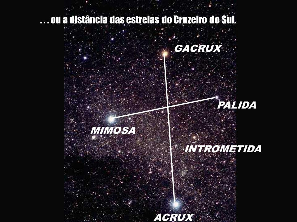 . . . ou a distância das estrelas do Cruzeiro do Sul.