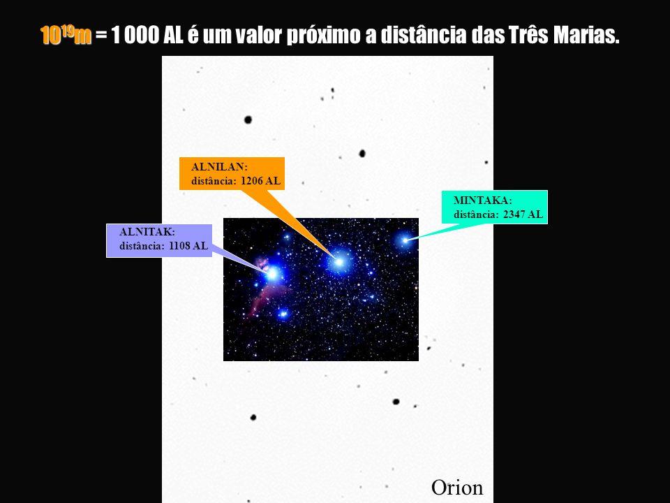1019m = 1 000 AL é um valor próximo a distância das Três Marias.