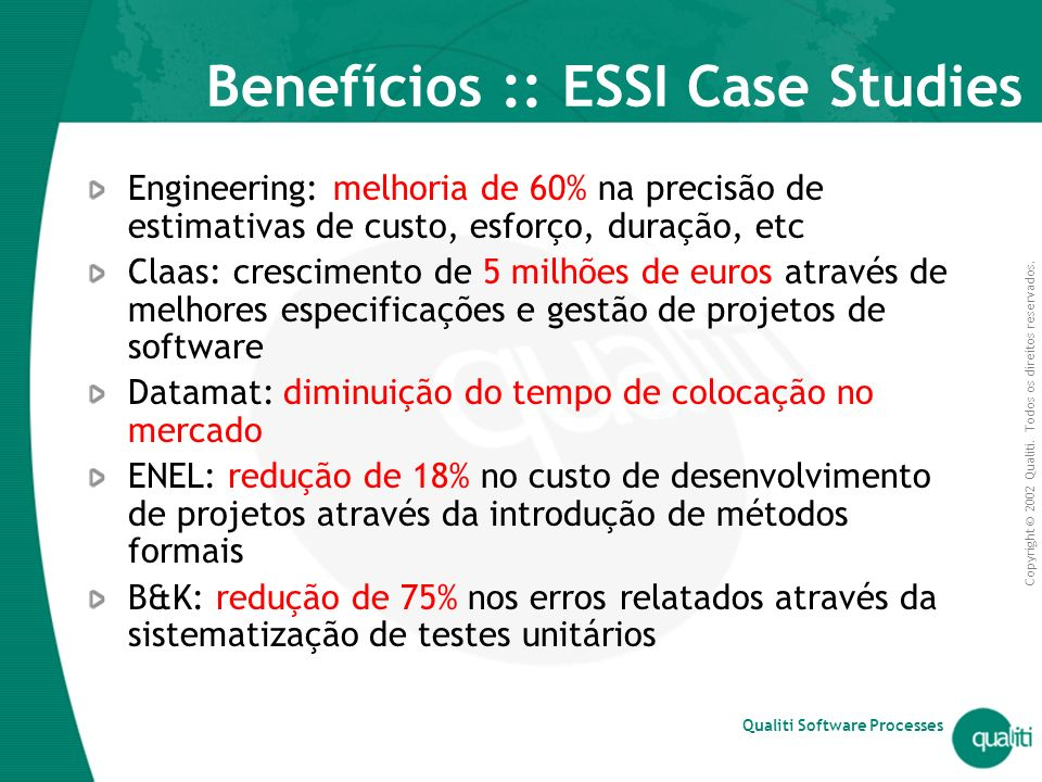 Benefícios :: ESSI Case Studies