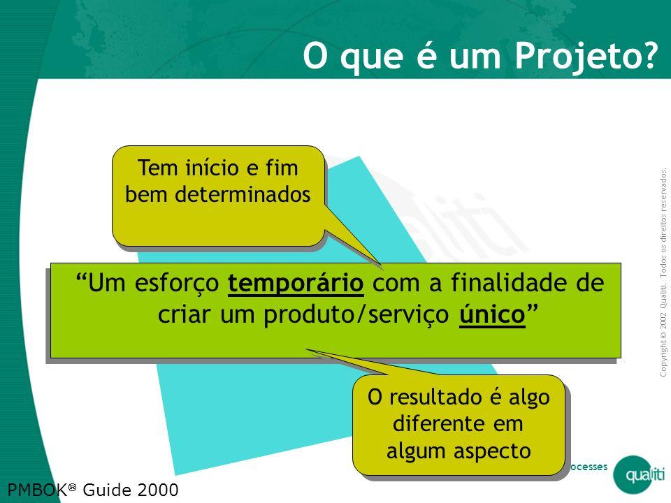 O que é um Projeto Tem início e fim bem determinados. Um esforço temporário com a finalidade de criar um produto/serviço único