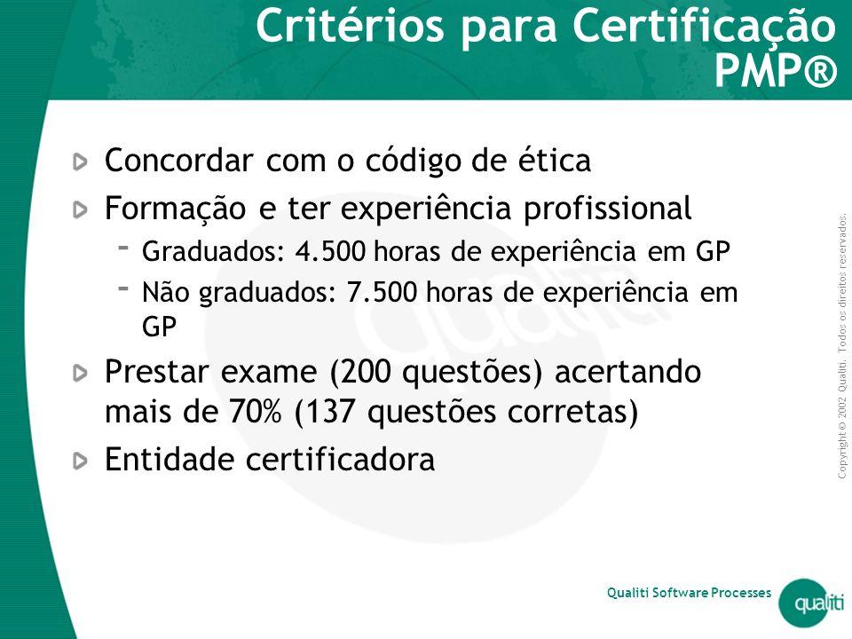 Critérios para Certificação PMP®