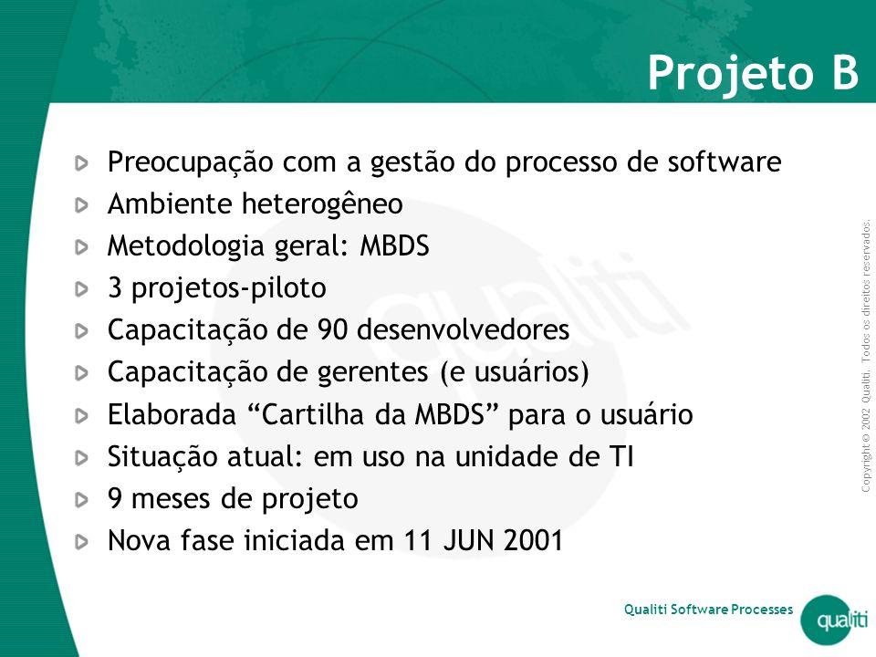 Projeto B Preocupação com a gestão do processo de software