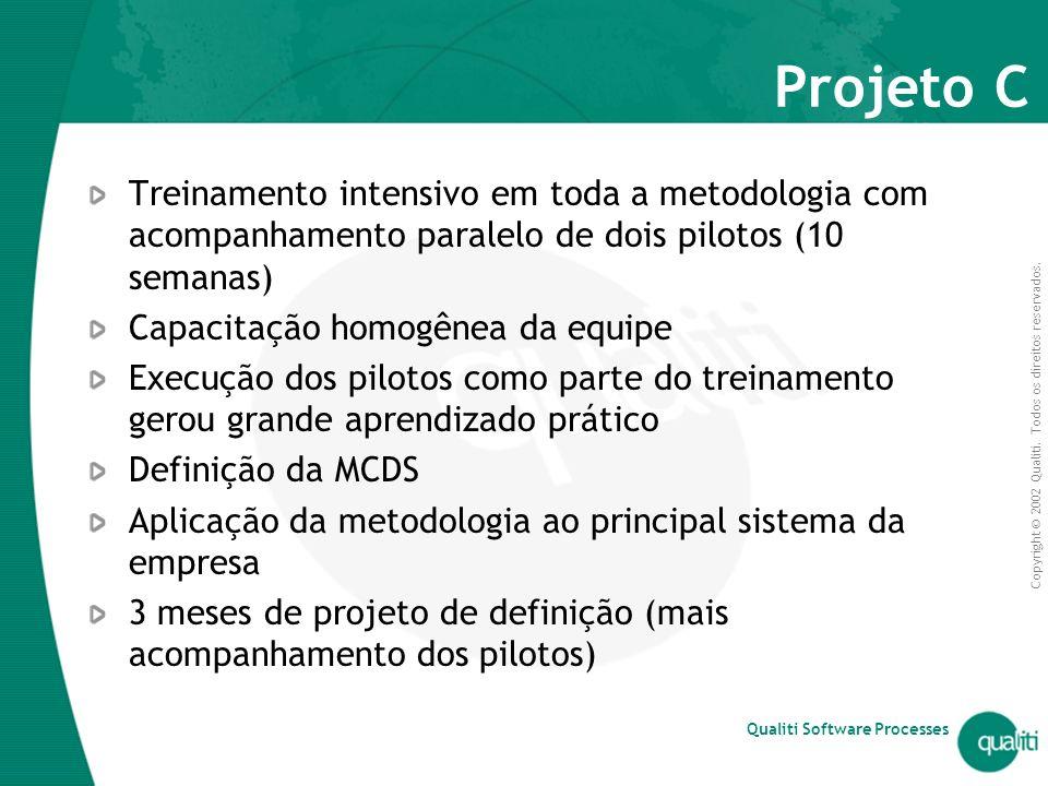 Projeto C Treinamento intensivo em toda a metodologia com acompanhamento paralelo de dois pilotos (10 semanas)