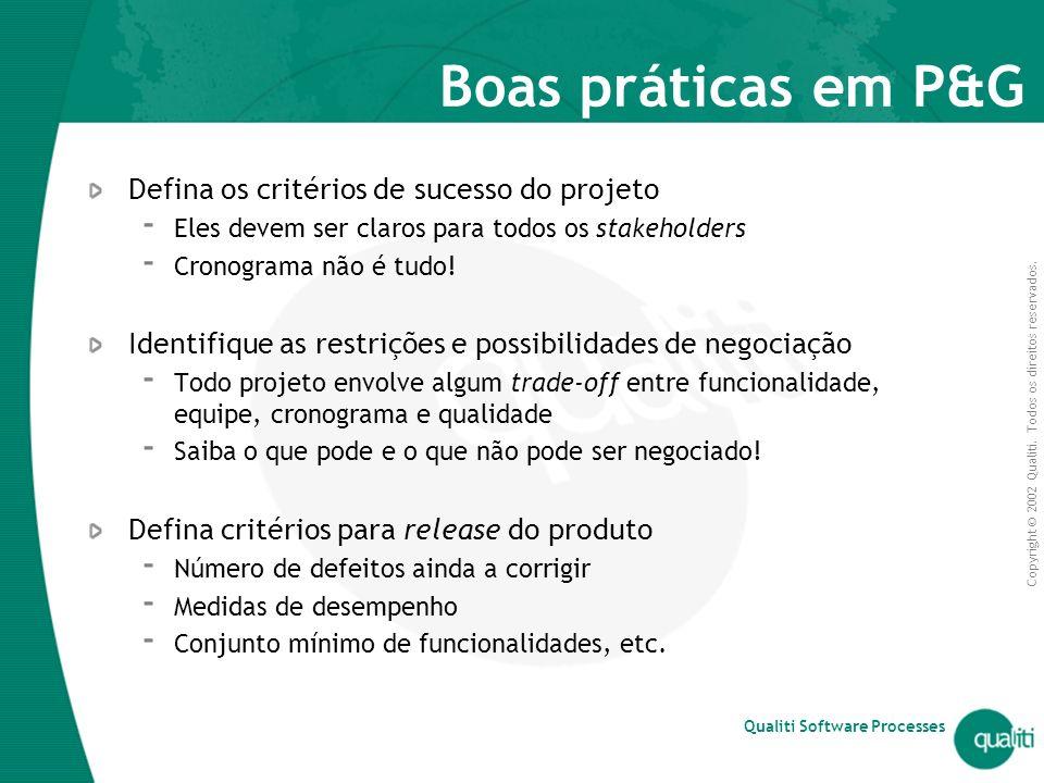 Boas práticas em P&G Defina os critérios de sucesso do projeto