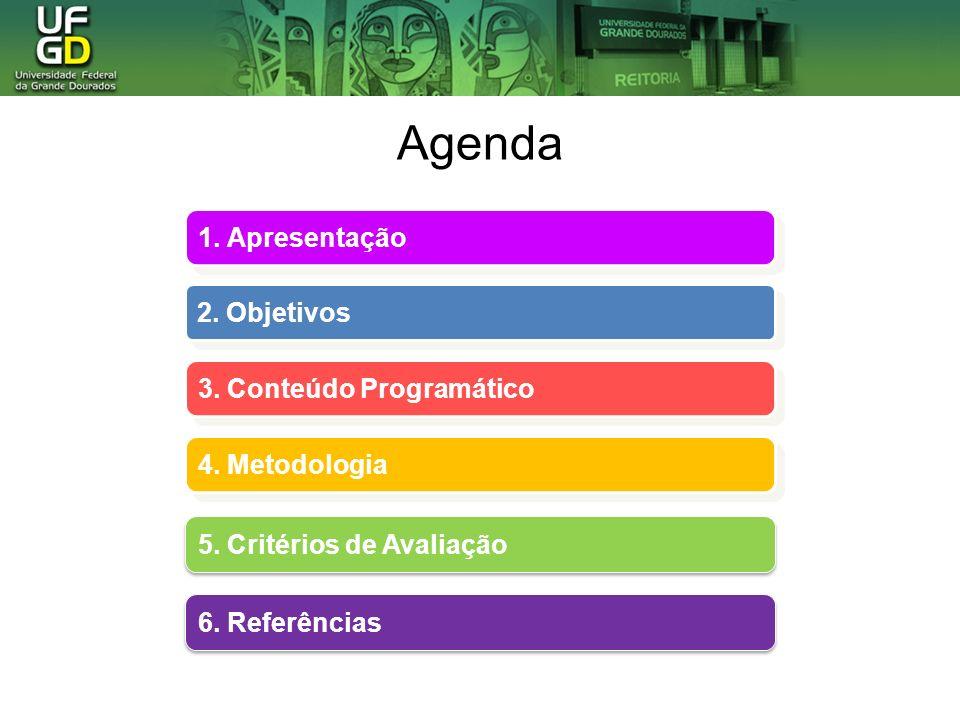 Agenda 1. Apresentação 2. Objetivos 3. Conteúdo Programático