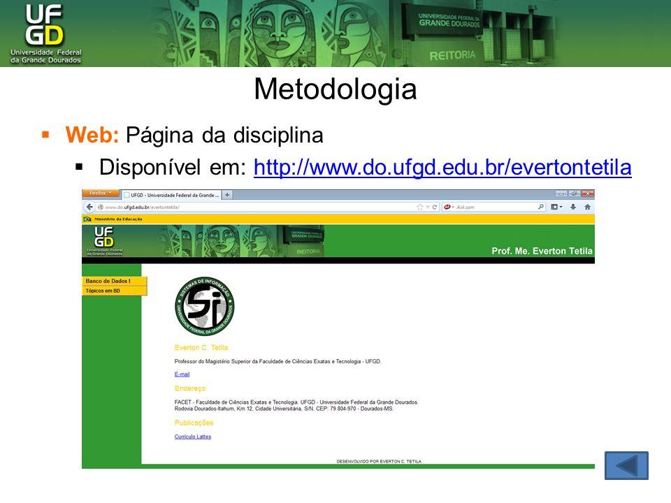 Metodologia Web: Página da disciplina
