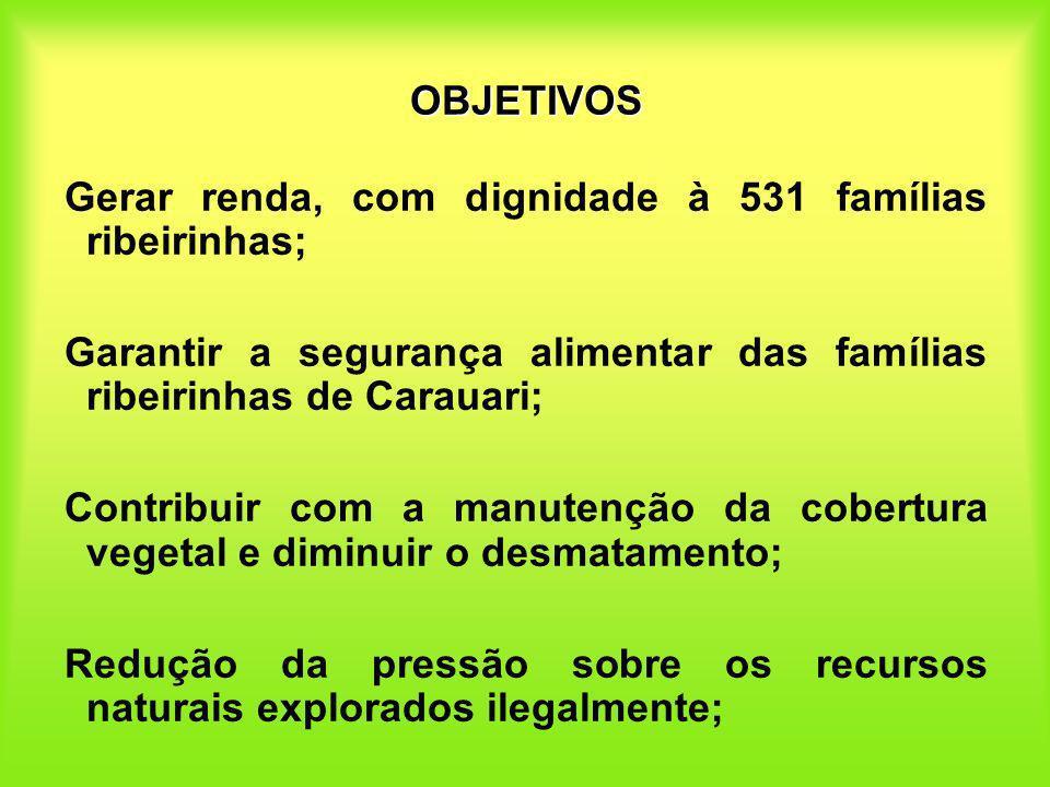 OBJETIVOS Gerar renda, com dignidade à 531 famílias ribeirinhas; Garantir a segurança alimentar das famílias ribeirinhas de Carauari;
