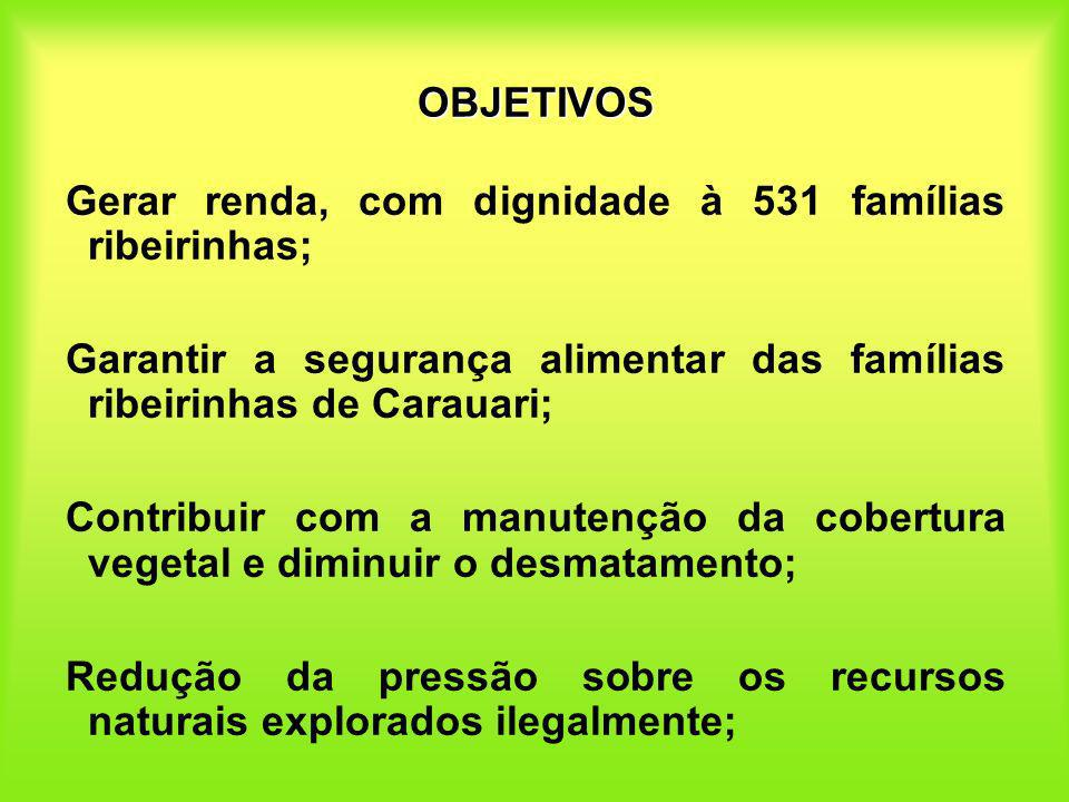 OBJETIVOSGerar renda, com dignidade à 531 famílias ribeirinhas; Garantir a segurança alimentar das famílias ribeirinhas de Carauari;