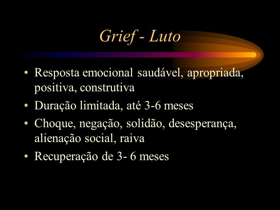 Grief - Luto Resposta emocional saudável, apropriada, positiva, construtiva. Duração limitada, até 3-6 meses.