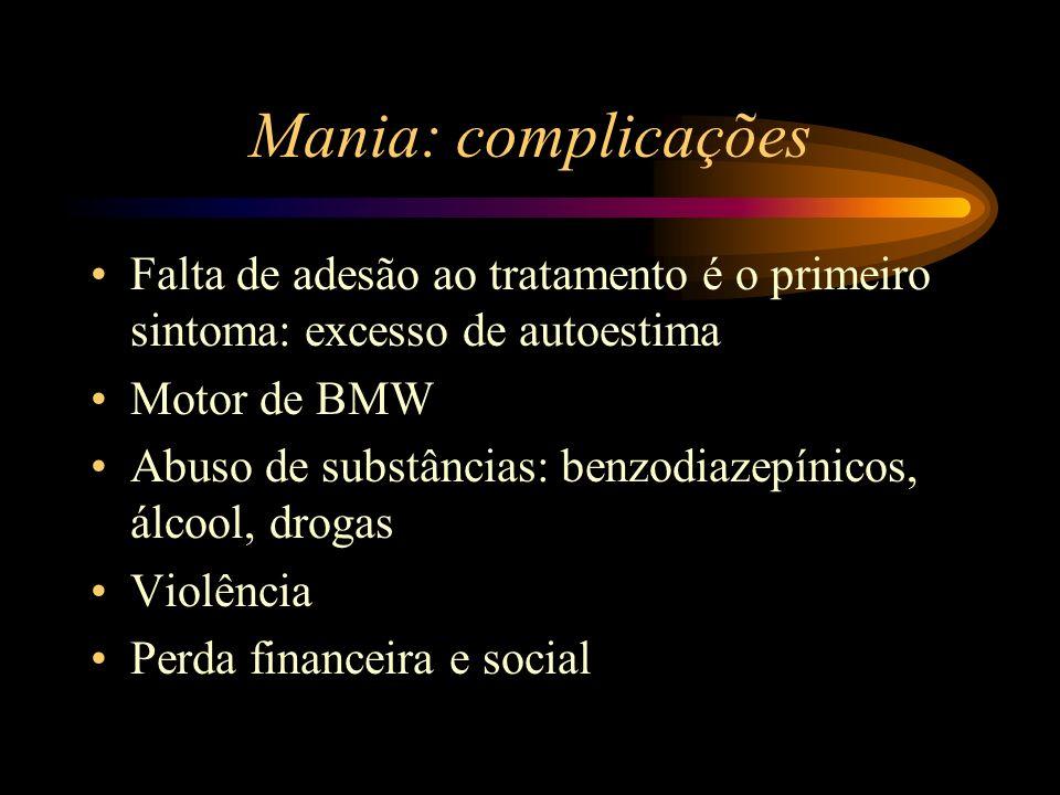 Mania: complicações Falta de adesão ao tratamento é o primeiro sintoma: excesso de autoestima. Motor de BMW.