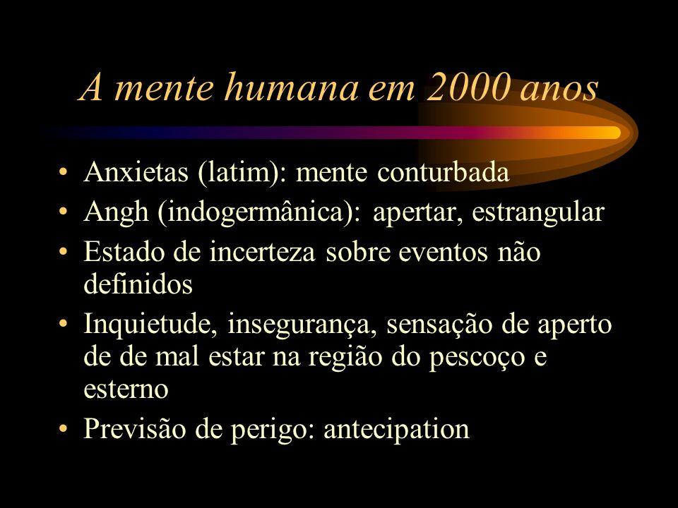 A mente humana em 2000 anos Anxietas (latim): mente conturbada