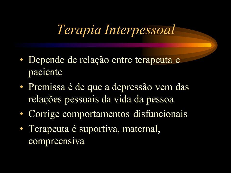 Terapia Interpessoal Depende de relação entre terapeuta e paciente